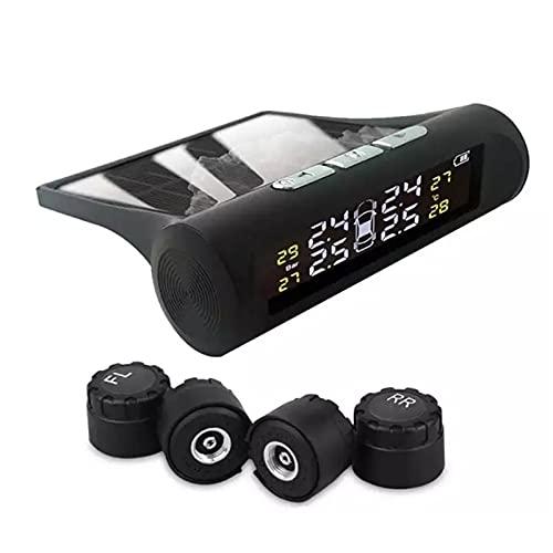 Qingxin Sistema de monitoreo de presión de neumáticos de coche con 4 sensores de tapa externa Solar Auto TPMS alerta de presión y temperatura en tiempo real