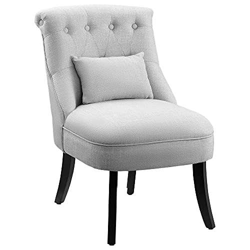 HOMCOM Fabric Single Sofa Dining Chair Tub Chair Upholstered W/Pillow Solid Wood Leg Home Living Room Furniture Grey