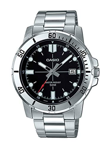 Casio MTP-VD01D-1EV Men's Enticer Stainless Steel Black Dial Casual Analog Sporty Watch