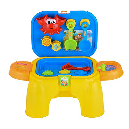 Kids Folding Beach Playset 2-in-1 Water Sand Table Stool Playset Toy with 16 PCS Sandbox Activity Table Set with Cover Summer Beach Outdoor Toys Best Gifts for Toddler (Multicolour)
