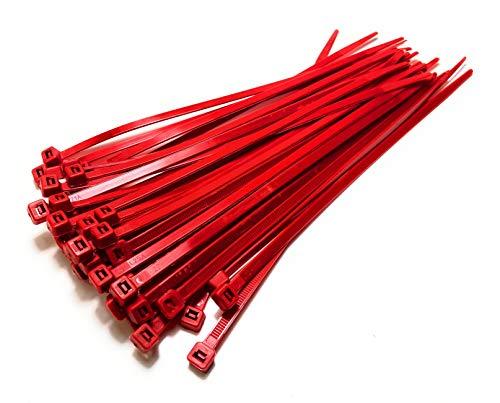 Fascette di nylon, lunghe e larghe, cerniere in plastica, bianco e nero, misura extra large, rosso