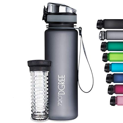 "720°DGREE Water Bottle ""uberBottle"" - 1 L softTouch +Fruit-Infuser - BPA-Free Tritan, Leakproof, Reusable Drinking Bottle - Sports Bottle for Gym, Running, Fitness, Cycling, Travel, School & Office"