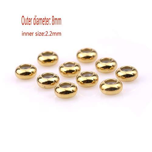 ZRDY Cuentas De Acero Inoxidable 10pcs Dia 8 10mm Agujero Grande con Silicona Perlas De Oro/Color De Acero Espaciador For Resultados De La Joyería Que Hace DIY Bead (Color : Gold 8x2.2)