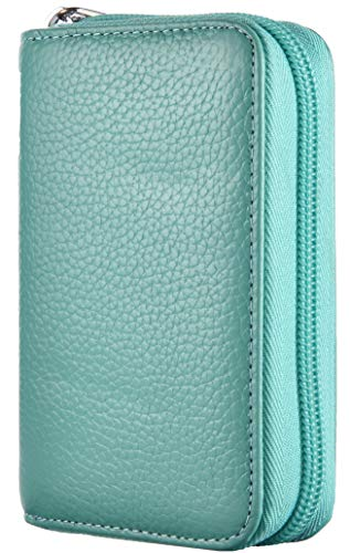 Easyoulife Genuine Leather Credit Card Holder Zipper Wallet With 26 Card Slots (Teal)