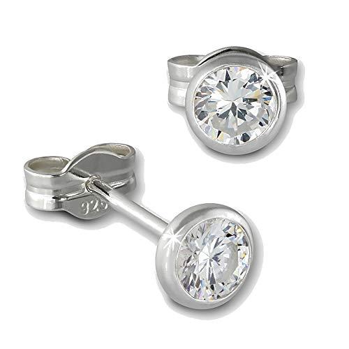 SilberDream Ohrringe 4mm für Damen 925 Silber Ohrstecker Zirkonia weiß SDO5534W ein Angebot von IMPPAC