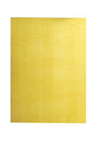 havatex Velours Teppich Trend - schadstoffgeprüft und pflegeleicht | schmutzabweisend robust strapazierfähig | Wohnzimmer Schlafzimmer, Farbe:Gelb, Größe:80 x 160 cm