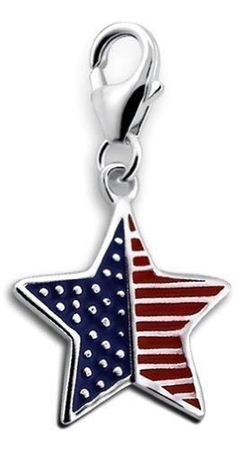 Laimons Damen-Charm Anhänger USA-Stern-amerikanische Flagge Sterling Silber 925