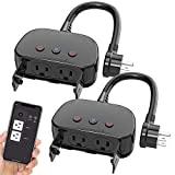 WAKYME Upgraded WiFi Outlet Outdoor Smart Plug Outdoor 2 Packs, No Hub Required, Wireless Remote Control Timer, Smart Outlet Compatible with Alexa, Google Home and IFTTT