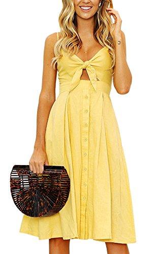 Yidarton Womens Dresses-Summer Spaghetti Strap Tie Front Button Down Sexy Backless Midi Dress (Medium, Yellow)