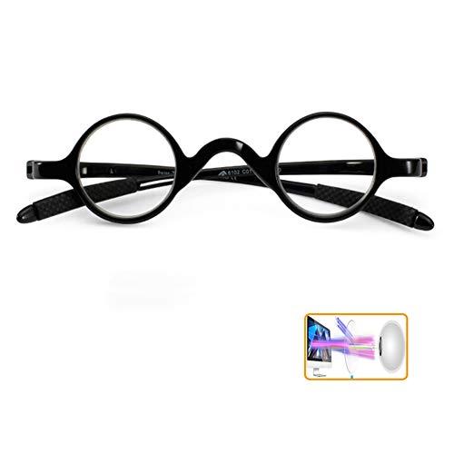 HYFZM Unisex Retro kleine ronde frame leesbril Anti Bluelight Blocker HD brillen lezers voor vrouwen mannen/Anti Eyestrain, Beste cadeau voor ouders