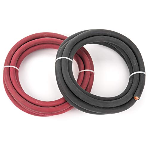4/0 Gauge - 10 Feet Black + 10 Feet Red Combo - EWCS Brand 100% Copper Premium Industrial Grade Extra Flexible Welding Cable 600 Volt Black+Red Combo Package