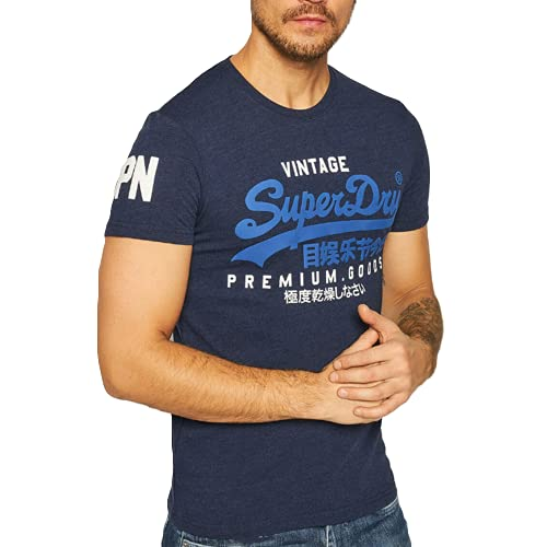 Superdry VL NS Tee T-Shirt à manches courtes Homme - Bleu (Midnight Blue Grit.) - L