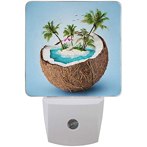 Set von 2 Tropical Island in Kokosnuss Sommer Palm Tree Ocean Travel Design Auto Sensor L-e-d Dämmerung bis Morgendämmerung Nachtlicht Plug-in Indoor für Erwachsene