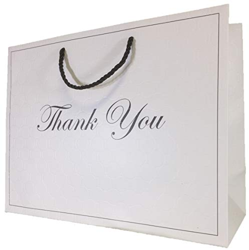 Large Gift Bag White Thank You Gift Bags with Handles (12 Pack) 13x5x10 Paper Shopping Merchandise Premium Quality Elegant Luxury Matte Modern Fancy Retail Clothing Boutique Wedding Birthday