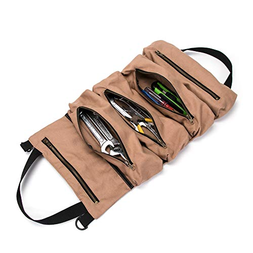 Super Tool Roll Large Wrench Roll Big Tool Roll Up Bag Waxed Canvas Tool Organizer Bucket Tool Roll Up Pouch Handy Small Tools Tote CarrierTool Pouch Sling Car Back Seat Organizer Khaki