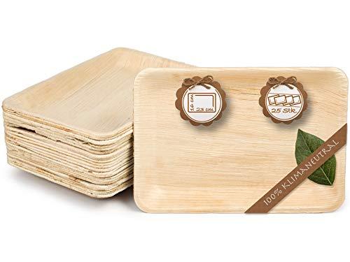 quau   25 Einwegteller aus Palmblatt   23cm x 16cm   rechteckig   robust & kompostierbar   Palmblattteller