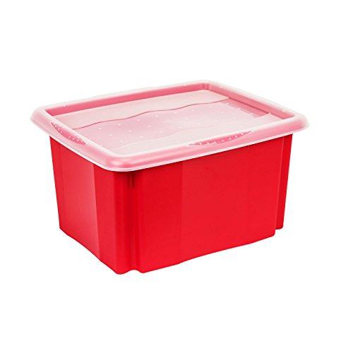 24L Wendebox Stapelbox rot Deckel stapelbar Aufbewahrungsbox Multibox Stack&Go
