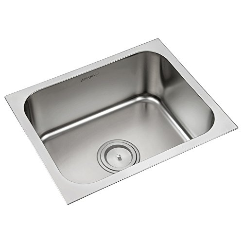 Anupam 112A, 304 Grade Stainless Steel Single Square Bowl Kitchen Sink (22 x 18 x 8 Inch), Satin Finish