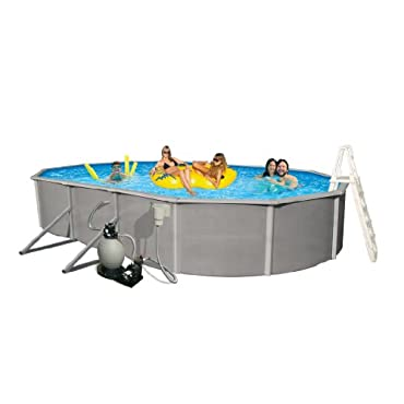 Blue Wave Belize 12' by 24' Oval 52 Deep 6 Top Rail Metal Wall Swimming Pool Package