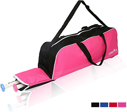 Athletico Baseball Tote Bag - Tote Bag for Baseball, T-Ball & Softball Equipment & Gear for Kids, Youth, and Adults | Holds Bat, Helmet, Glove, Shoes | Fence Hook (Pink)