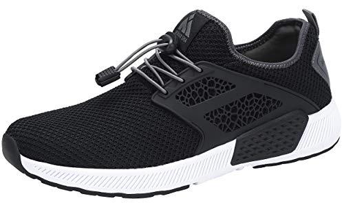 Mishansha Herren Damen Sportschuhe Sommer Atmungsaktiv Leicht Straßen Laufschuhe Männer Frauen Gym Fitness Walking Turnschuhe mit Schnellverschluss(Schwarz, 38 EU)