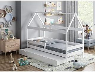 Children's Beds Home - Lit simple en forme de maison avec gigogne - Betty - Taille 200x90, couleur blanc, matelas en mouss...