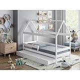 Children's Beds Home - Cama individual en forma de casa con nido - Betty - Colchón de fibra de coco y látex de 10 cm, color blanco