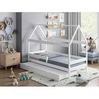 Letto per bambini - Letto singolo a baldacchino con letto estraibile - Betty - Dimensioni 200 x 90, colore bianco, materasso in schiuma 9 cm