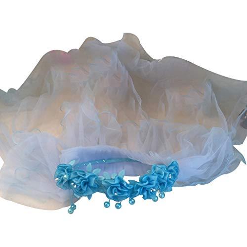 Velo de novia para niñas y niñas, banda para el pelo de encaje de flores corona de doble capa de velo de malla con perlas de imitación para la primera comunión talla única -1