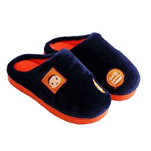 Famille d'hiver et chaleureux Chaussures Indoor Maison Enfant Slipper, Marine