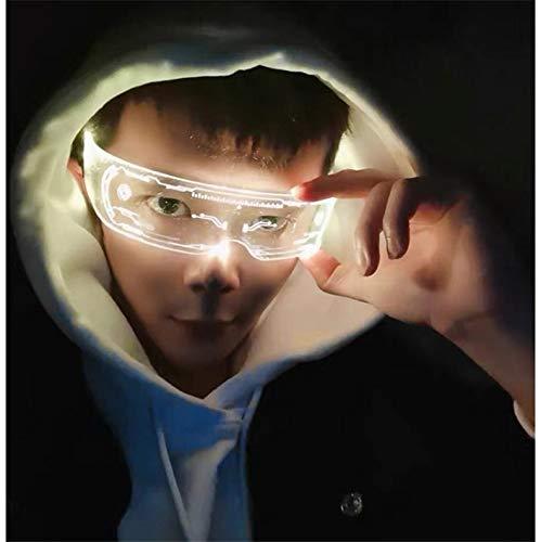 Gafas de Visera Solar LED Cyberpunk, 256 Combinaciones de Flash, Gafas LED Luminosas,1 Pack