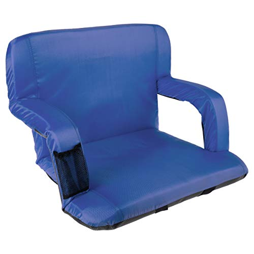 Home-Complete HC-3002-BLUE Wide Stadium Seat Chair Bleacher Cushion with Padded Back Support, Armrests and Portable Carry Straps, Blue