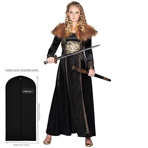 WOOOOZY Damen-Kostüm Wikinger Königin, Gr. 36 - inklusive praktischem Kleidersack