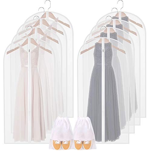 Moth Proof Garment Bags,8 packs 55in Clear Breathable Hanging Lightweight Dust Covers with 2 White Overshoes and Study Full Zipper for Long Dress Gown Storage Clothes Clothing