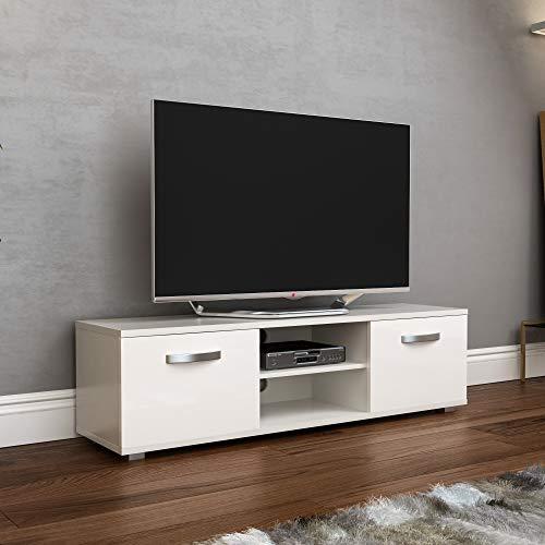 Vida Designs Cosmo Fernsehschrank TV Bank 2 Türen Modern Glänzend Matt MDF Wohnzimmer Schränkchen Medienständer Medienhalter Möbelstück Weiß 140cm