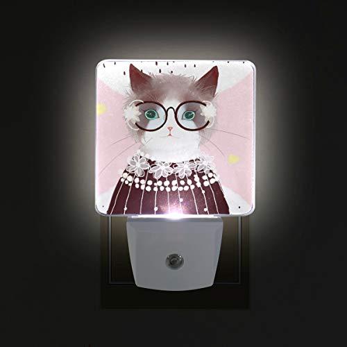 Mr.XZY Anime Cat Lady Pintura Lindo Dibujos Animados LED Luz Noche Llevando Suéter Gafas Conjunto de 2 Lámpara de Noche para Dormitorio, Sala, Pasillo Fiesta Decoración 2010375