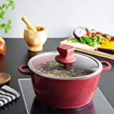SQ Professional NEA Marbell Die-Cast Aluminium Stockpot with Marble Effect Non-Stick Coating (Rossa, 30cm)