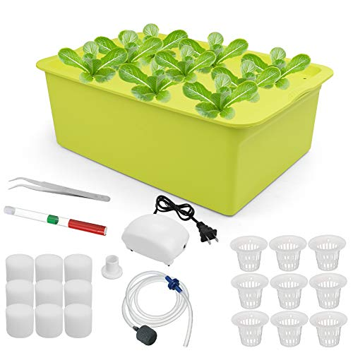 Freehawk Hydroponic System Growing Kit,9 Sites Bucket with Air Pump,Bubble Stone and Planting Sponges,Household DWC Hydroponic System Growing Kits for Herbs,Lettuce,Vegetables (Green)