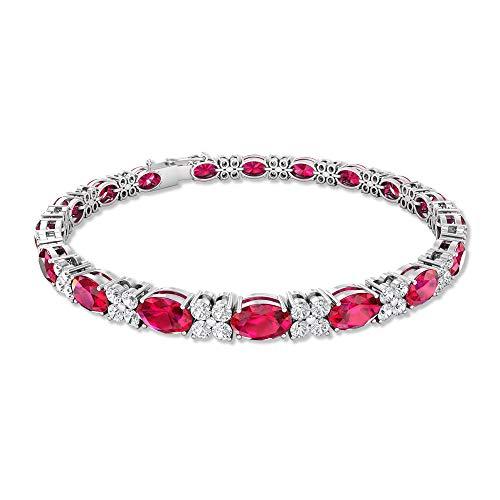Pulsera de 10,8 quilates con cristal de rubí certificado IDCL, 2,04 quilates de moissanita Cluster de tenis, DEF-VS1 claridad de color, 18K Oro rosa 7 Inches