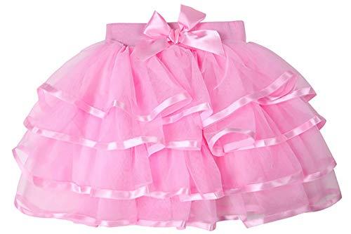 storeofbaby Baby Mädchen Rosa Tutu Rock 4 Schichten Kurze Plissee Dress Up Cosplay Dance Petticoat