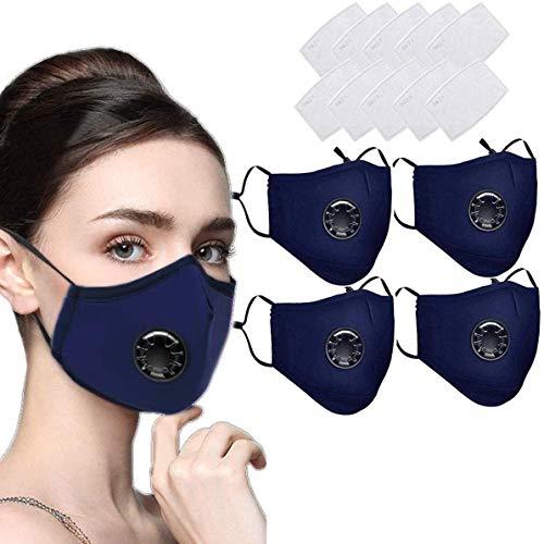 4 STK Mundschutz Maske Schutzmaske Multifunktionstuch Mund und Nasenschutz Waschbar Staubschutzmaske Wiederverwendbar Atmungsaktiv Mundschutz Winddicht Unisex Halstuch - Mit 10 Aktivkohlefiltern