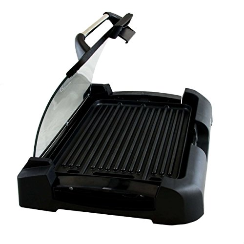 """MegaChef Heavy Gauge Aluminum Reversible Indoor Grill and Griddle with Removable Glass Lid, 15"""" by 11"""", Black"""