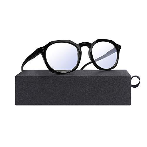 InaRock Blaulichtfilter Brille Computerbrille PC Gaming Bluelight Filter Uv Blocking Glasses Herren Damen Ohne Stärke Entspiegelt (Schwarz)