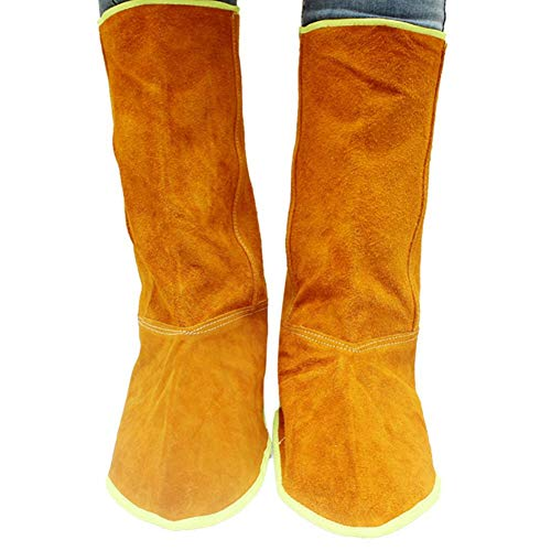 Fireproof Boot Cover for Welding Use Foot and Calf Protective Gear Heat Resistant Long Cowhide Leather Shoe Protector Welder Working Tool Thick Protection Feet Cover