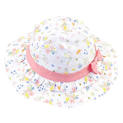 Sombrero para el Sol para Bebé Niñas Flores Motivo Primavera Verano Dulce y Encantador Protección UV Sombrero de Pescador Algodón Sombrero de Playa Vacaciones Gorro SH0182 Rosa, 46cm S