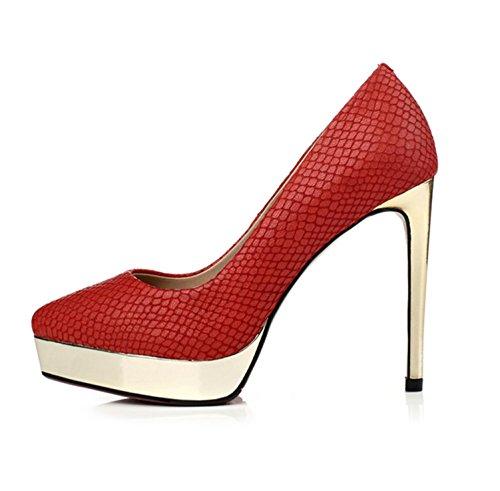 WSS Zapatos de tacón Cuatro Temporadas de Zapatos Zapatos de Mareas de Punta de Plataforma de tacón Cuero tacón plateando con Moda Sexy de Piel de Serpiente Red 40 Plus 20