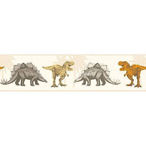Behangrand Dino behang dinosaurus Kinderbehang Bruin Oranje/Terracotta 358362 35836-2 A.S. Création Little Stars   Bruin/Oranje/Terracotta   Sample (21 x 29,7 cm)