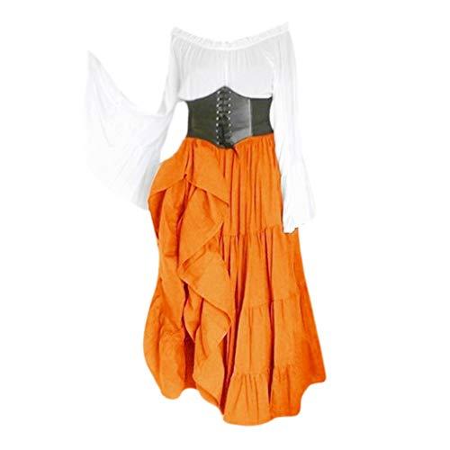 NHNKB Abito tradizionale da donna, lungo corsetto, per Halloween, Oktoberfest, Renaissance Lolita Dress Alice, costume cosplay per donne, adolescenti, oversize