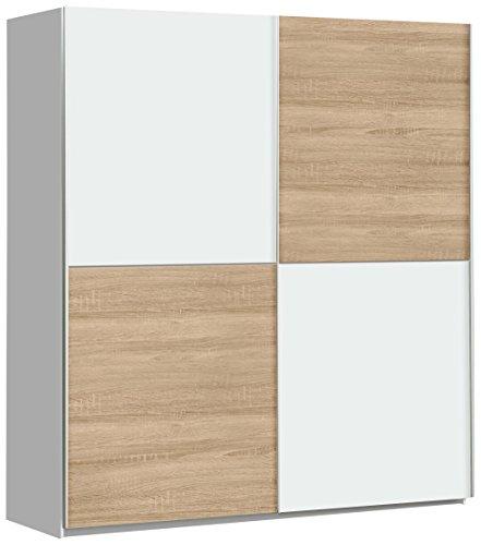 FORTE Schwebetürenschrank mit 2 Türen, Holz, Weiß + Sonoma Eiche Dekor, 170.3 x 61.2 x 190.5 cm
