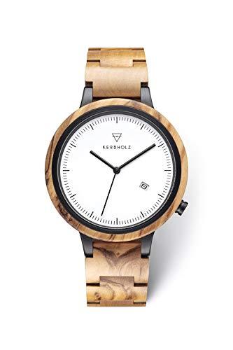 KERBHOLZ Holzuhr – Classics Collection Lamprecht analoge Quarz Uhr für Herren Gehäuse und verstellbares Armband aus massivem Naturholz, Ø 42mm, Olivenholz Schwarz